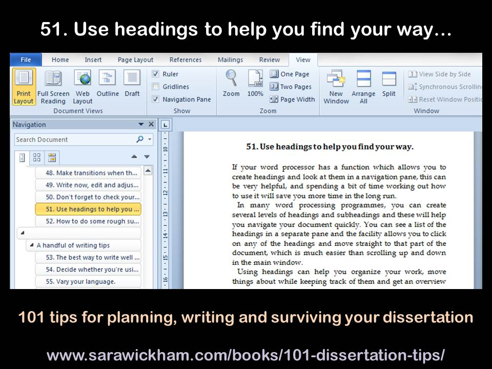 dissertation headings A complete dissertation the big picture an outline of the entire dissertation, list-ing headings and subheadings with their respective page numbers.